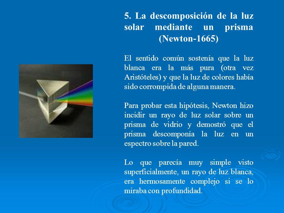 5. La descomposición de la luz solar mediante un prisma (Newton-1665) El sentido común sostenía que la luz blanca era la más pura (otra vez Aristóteles) y que la luz de colores había sido corrompida de alguna manera.
