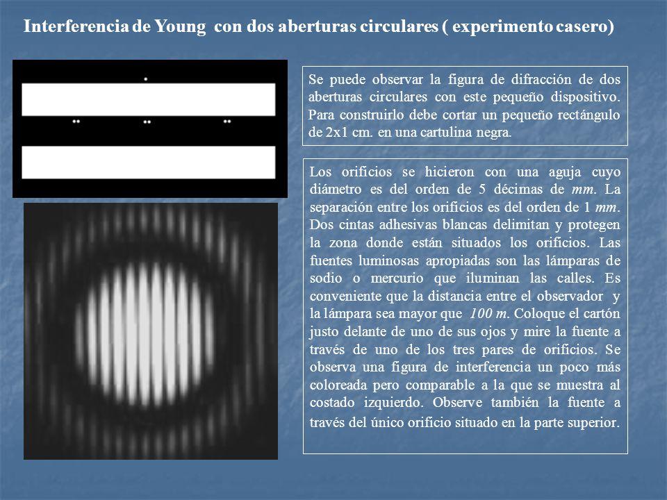 Interferencia de Young con dos aberturas circulares ( experimento casero)