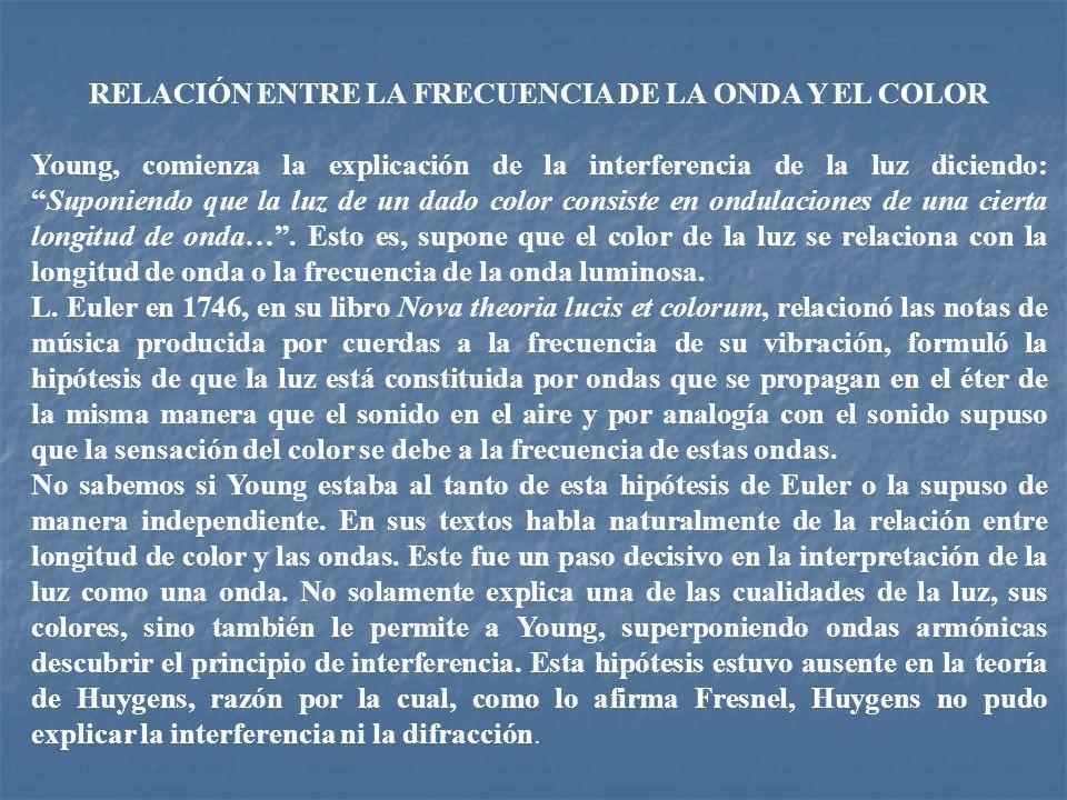 RELACIÓN ENTRE LA FRECUENCIA DE LA ONDA Y EL COLOR