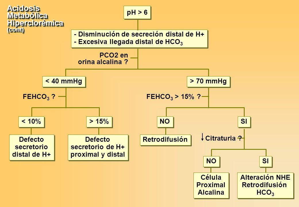 Acidosis Metabólica Hiperclorémica pH > 6