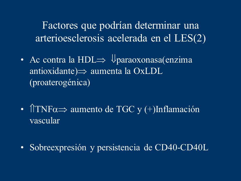 Factores que podrían determinar una arterioesclerosis acelerada en el LES(2)