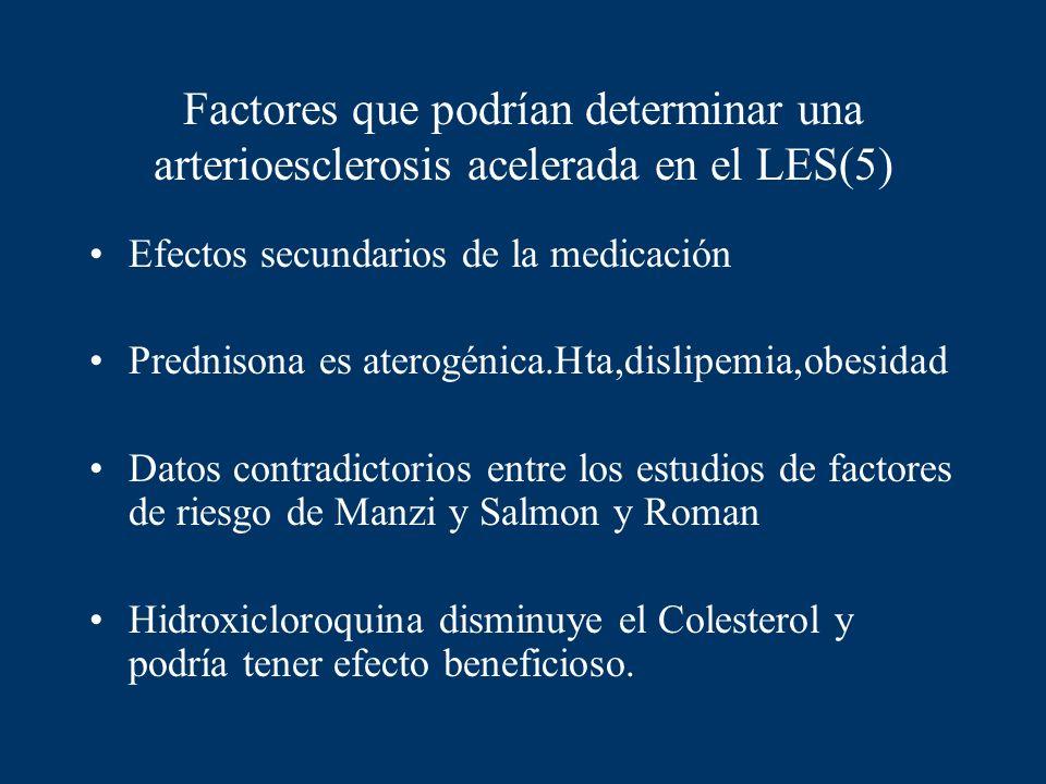 Factores que podrían determinar una arterioesclerosis acelerada en el LES(5)