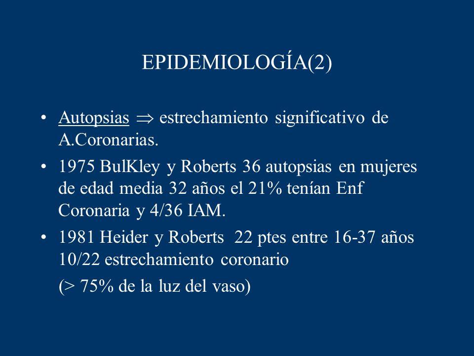 EPIDEMIOLOGÍA(2) Autopsias  estrechamiento significativo de A.Coronarias.