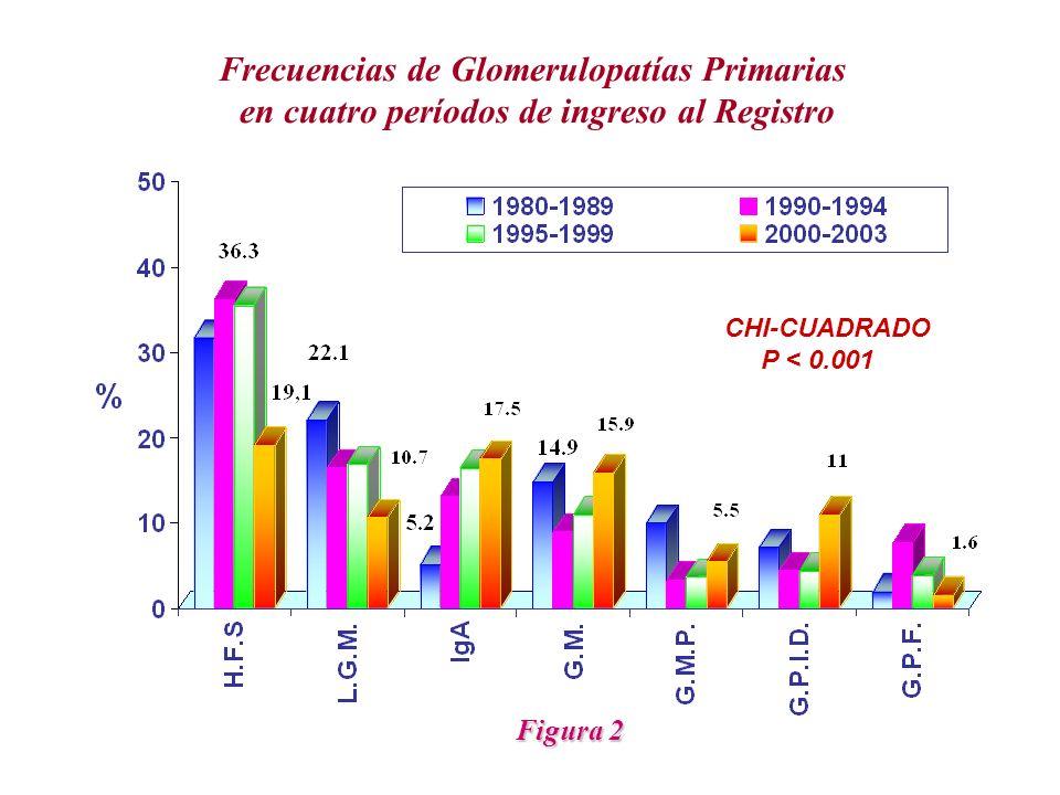 Frecuencias de Glomerulopatías Primarias en cuatro períodos de ingreso al Registro