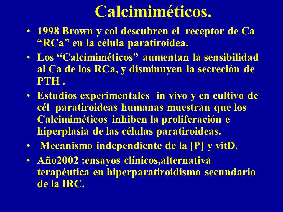 Calcimiméticos. 1998 Brown y col descubren el receptor de Ca RCa en la célula paratiroidea.