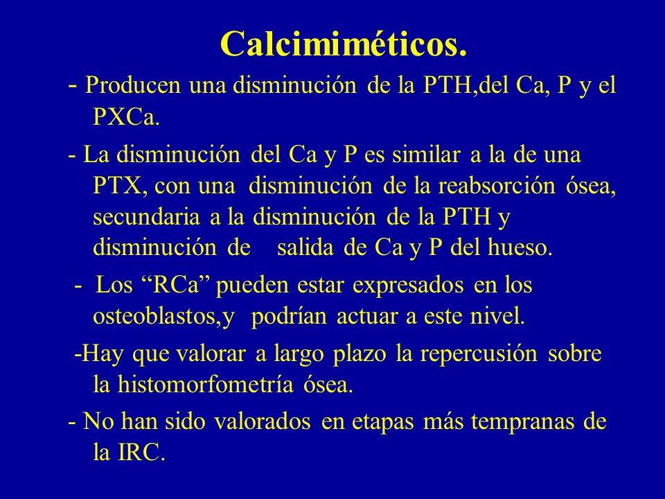 Calcimiméticos. - Producen una disminución de la PTH,del Ca, P y el PXCa.