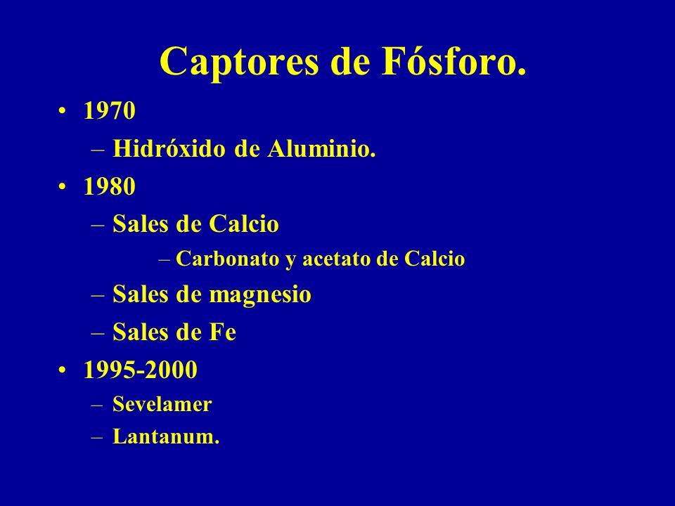Captores de Fósforo. 1970 Hidróxido de Aluminio. 1980 Sales de Calcio