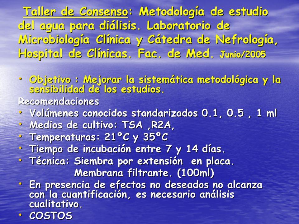 Taller de Consenso: Metodología de estudio del agua para diálisis