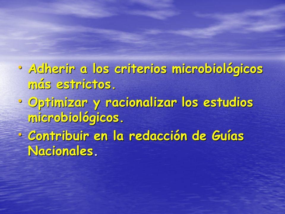 Adherir a los criterios microbiológicos más estrictos.