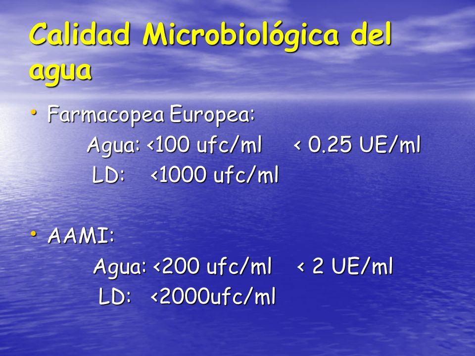 Calidad Microbiológica del agua