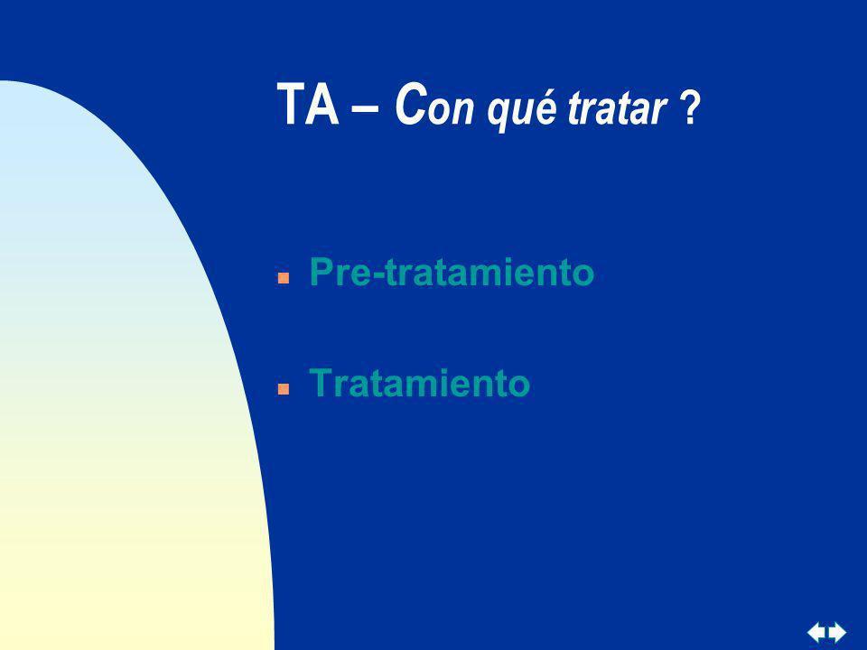 TA – Con qué tratar Pre-tratamiento Tratamiento