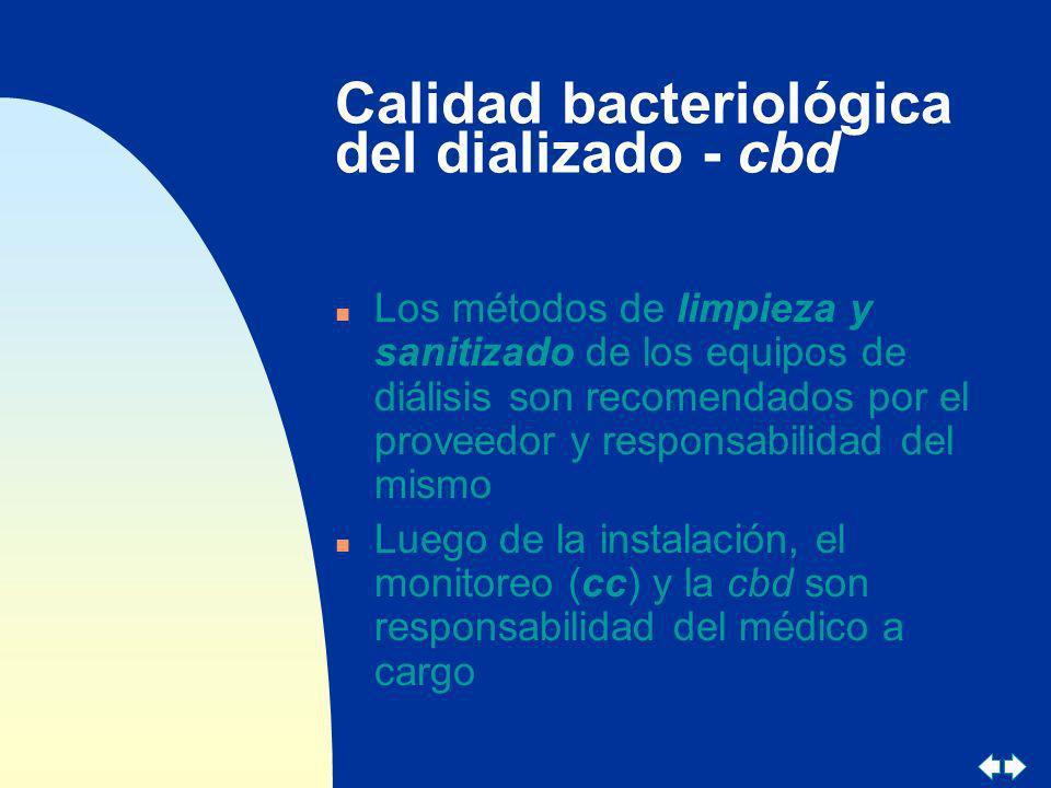 Calidad bacteriológica del dializado - cbd