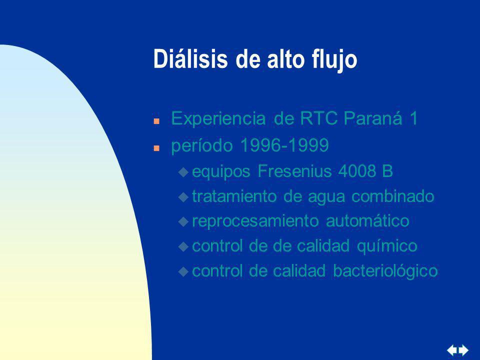 Diálisis de alto flujo Experiencia de RTC Paraná 1 período 1996-1999