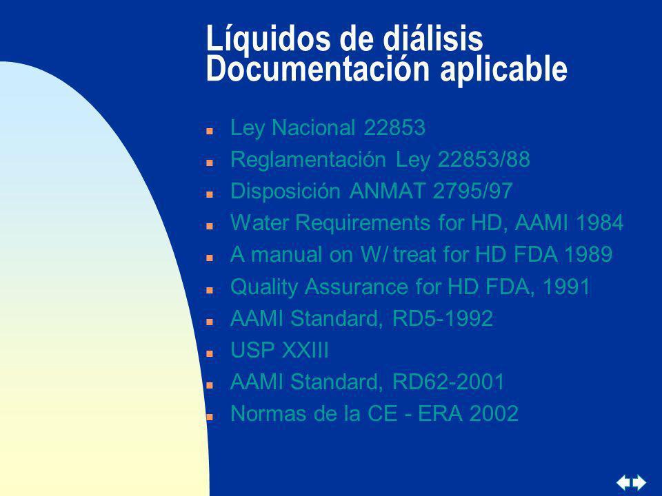 Líquidos de diálisis Documentación aplicable