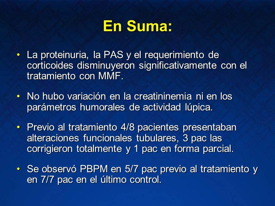 En Suma: La proteinuria, la PAS y el requerimiento de corticoides disminuyeron significativamente con el tratamiento con MMF.