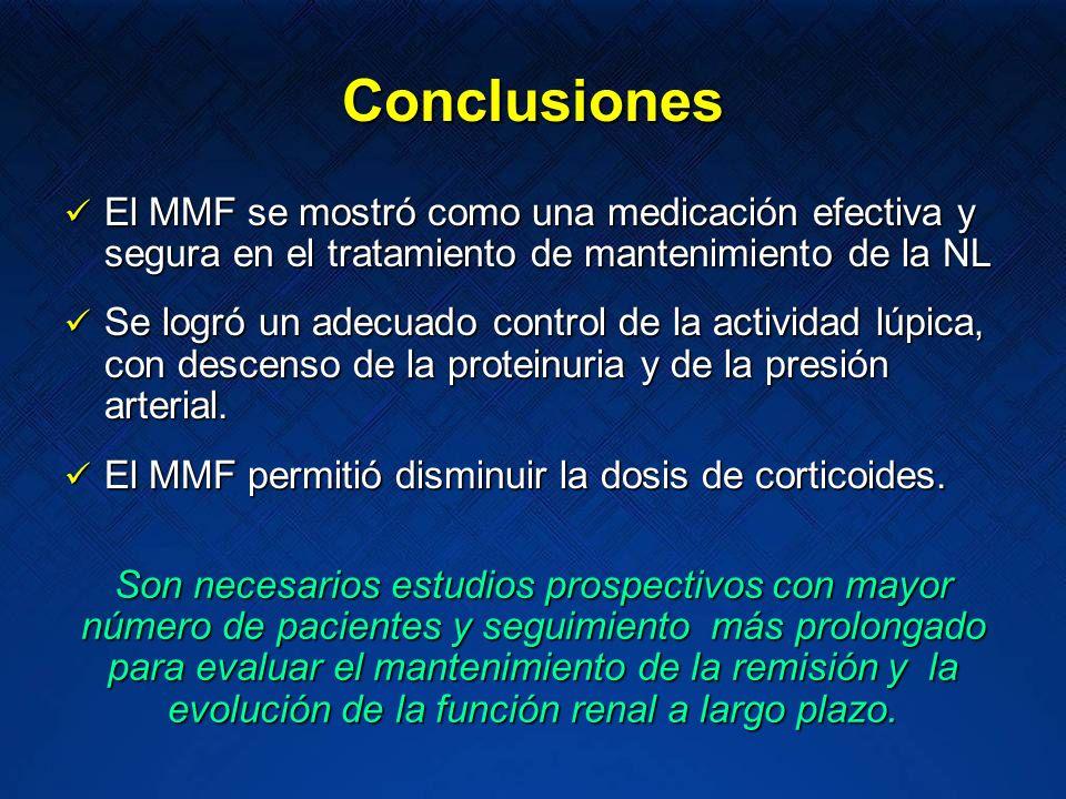 ConclusionesEl MMF se mostró como una medicación efectiva y segura en el tratamiento de mantenimiento de la NL.