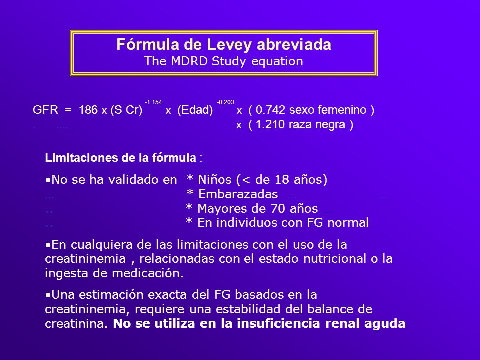 Fórmula de Levey abreviada The MDRD Study equation