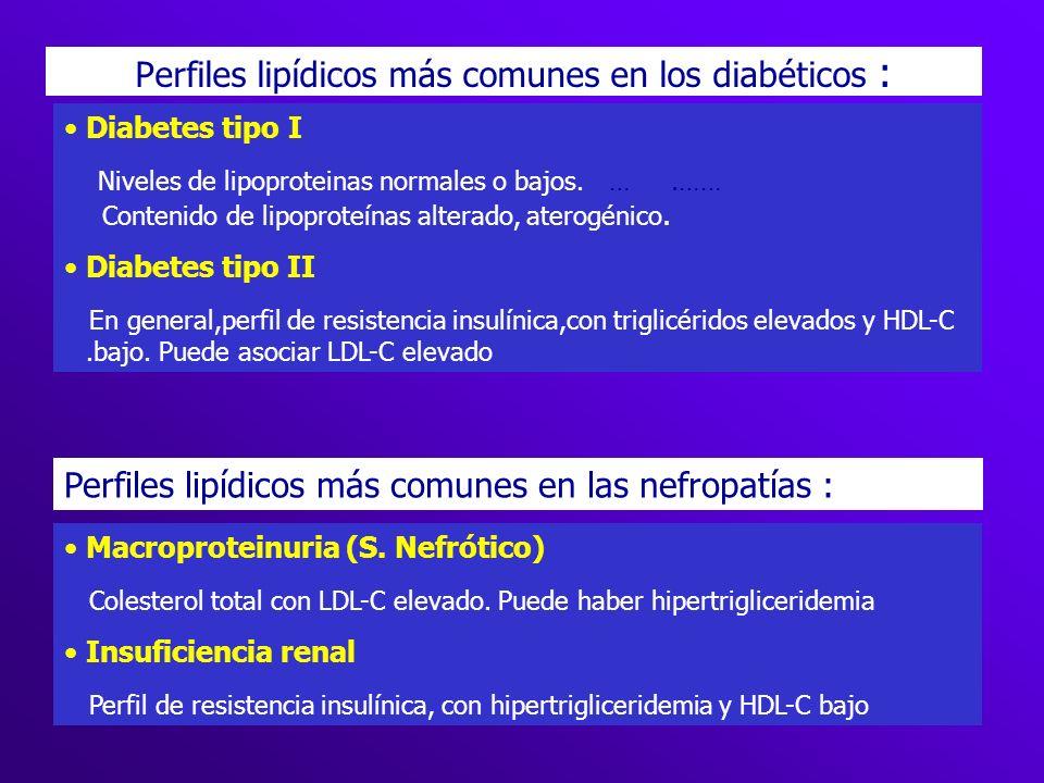 Perfiles lipídicos más comunes en los diabéticos :