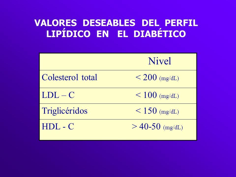 VALORES DESEABLES DEL PERFIL LIPÍDICO EN EL DIABÉTICO