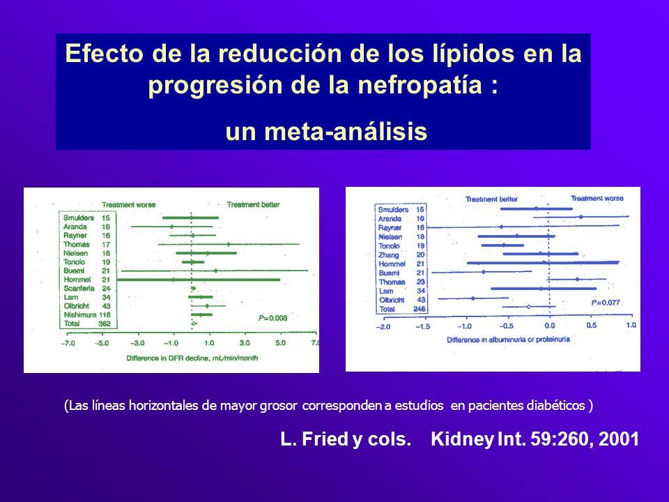 Efecto de la reducción de los lípidos en la progresión de la nefropatía :