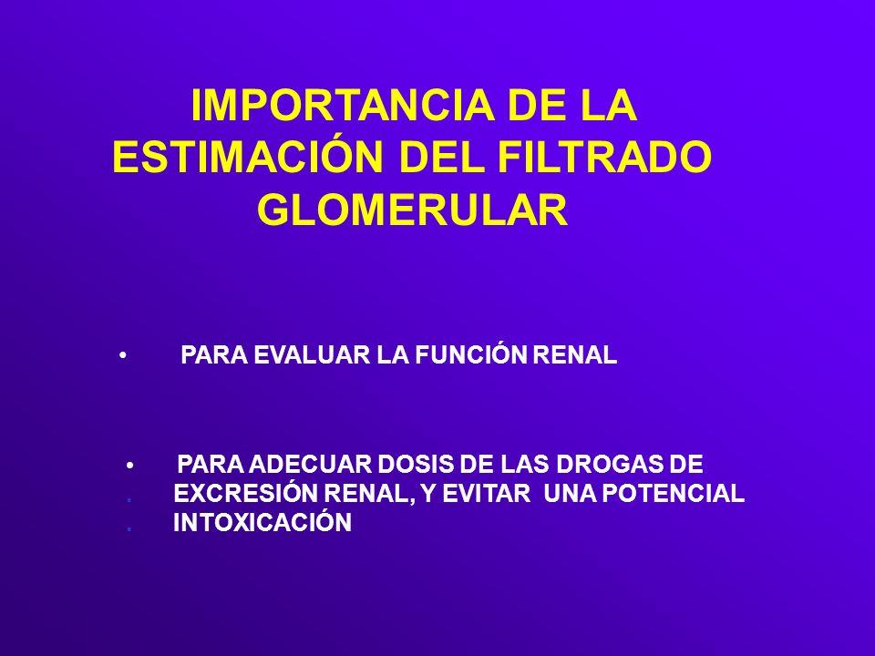 IMPORTANCIA DE LA ESTIMACIÓN DEL FILTRADO GLOMERULAR