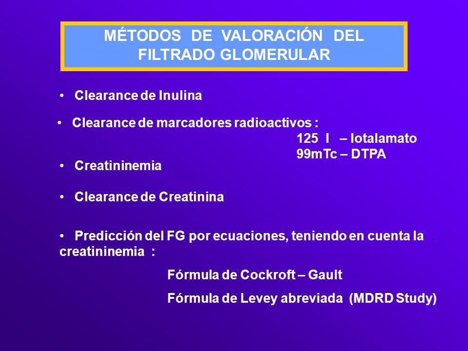 MÉTODOS DE VALORACIÓN DEL FILTRADO GLOMERULAR