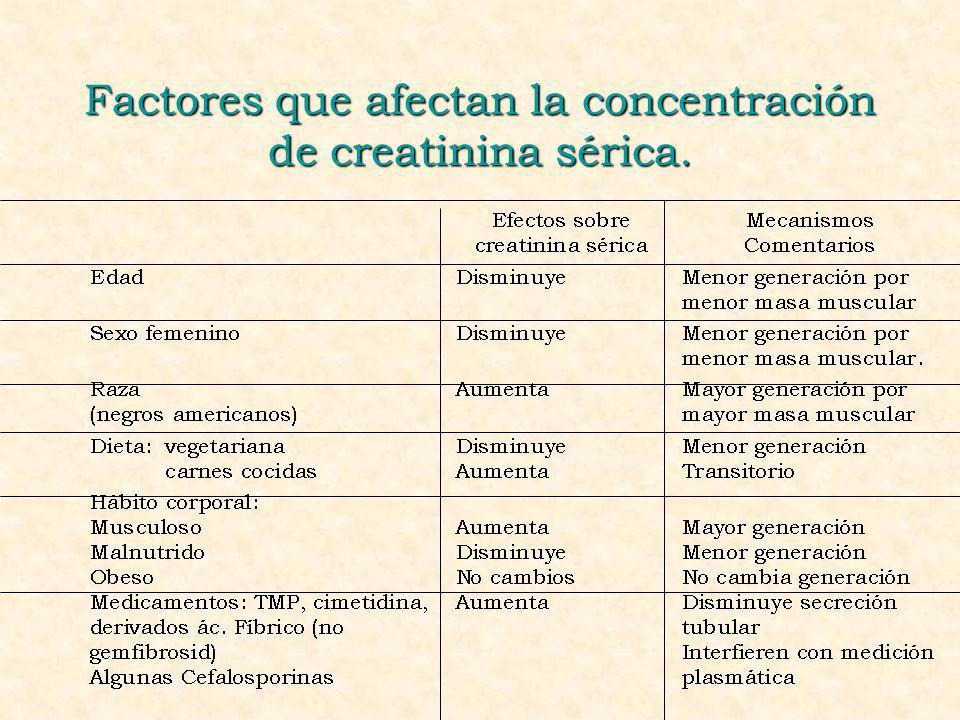 Factores que afectan la concentración de creatinina sérica.