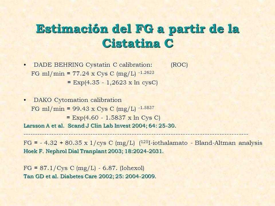 Estimación del FG a partir de la Cistatina C