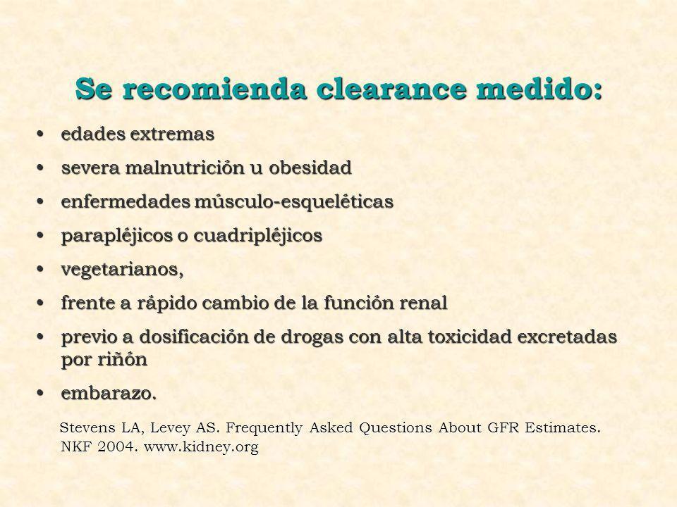 Se recomienda clearance medido: