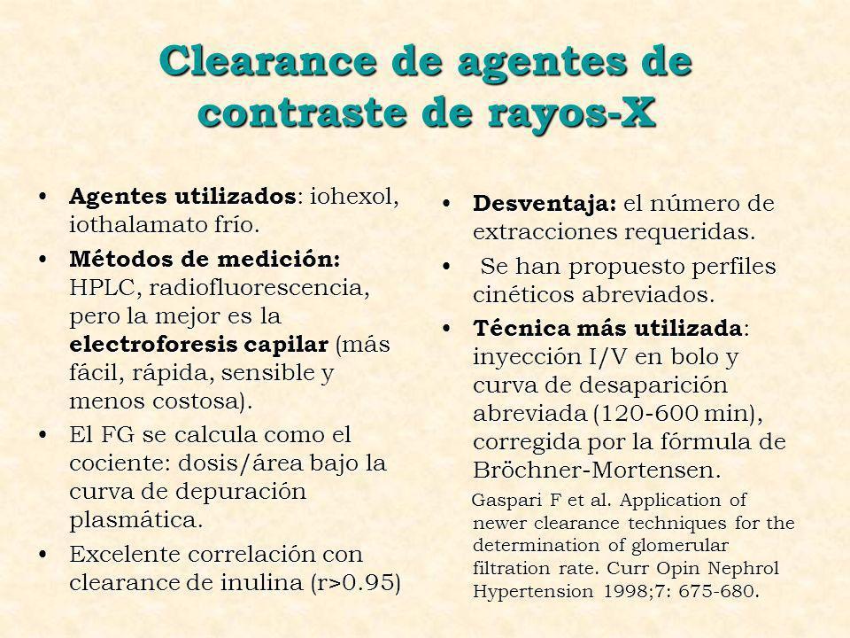 Clearance de agentes de contraste de rayos-X
