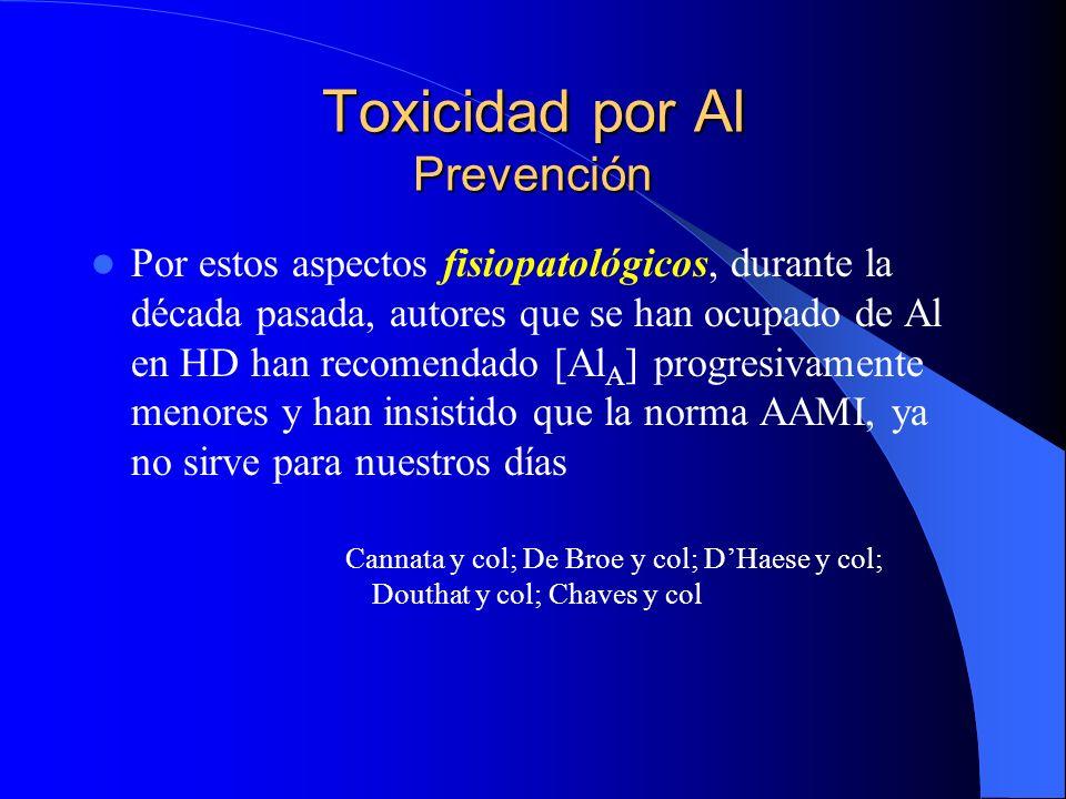 Toxicidad por Al Prevención