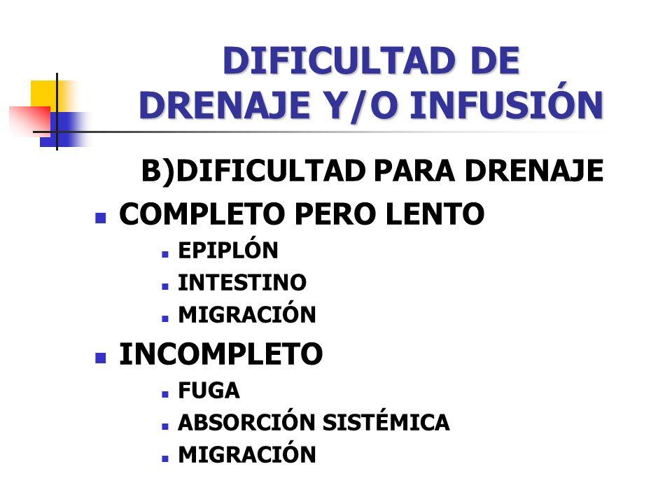 DIFICULTAD DE DRENAJE Y/O INFUSIÓN