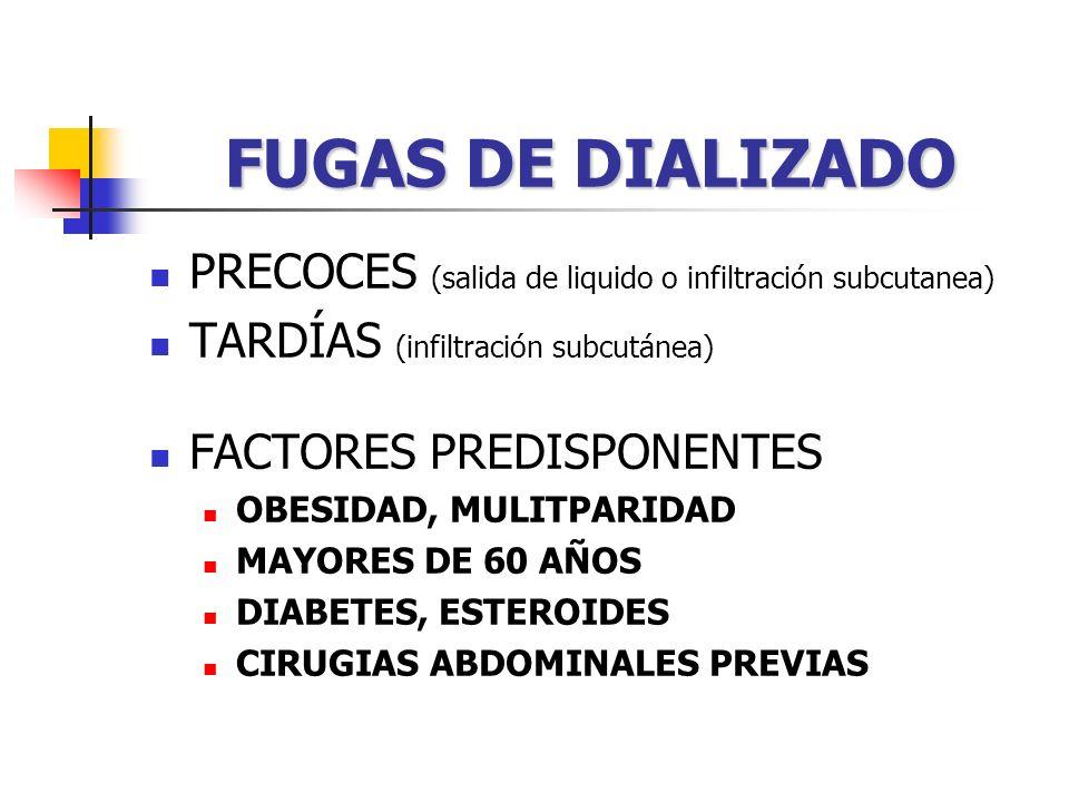 FUGAS DE DIALIZADO PRECOCES (salida de liquido o infiltración subcutanea) TARDÍAS (infiltración subcutánea)