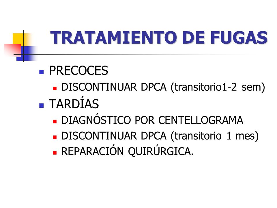 TRATAMIENTO DE FUGAS PRECOCES TARDÍAS