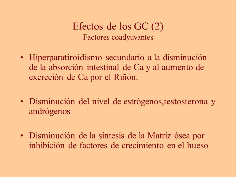 Efectos de los GC (2) Factores coadyuvantes