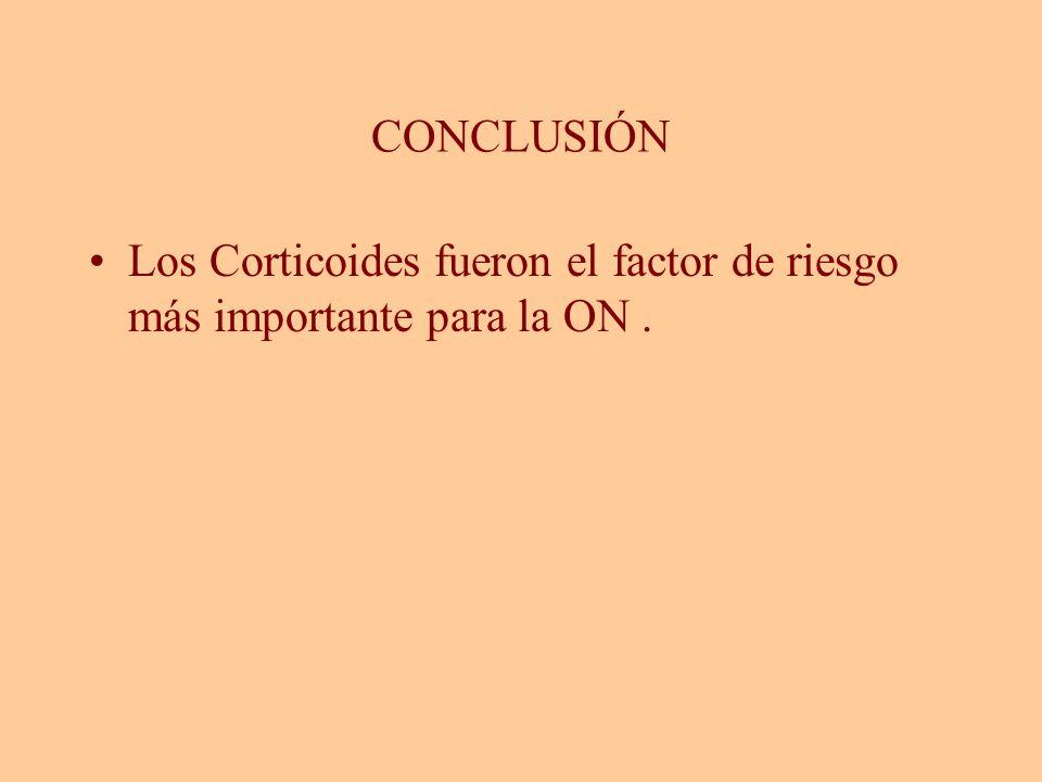 CONCLUSIÓN Los Corticoides fueron el factor de riesgo más importante para la ON .