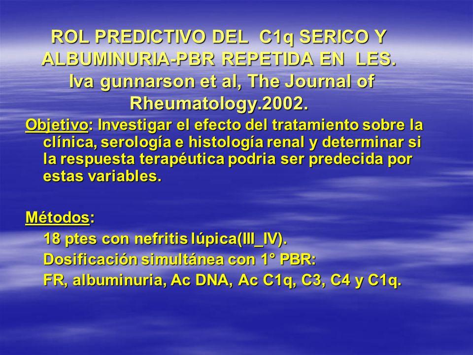 ROL PREDICTIVO DEL C1q SERICO Y ALBUMINURIA-PBR REPETIDA EN LES