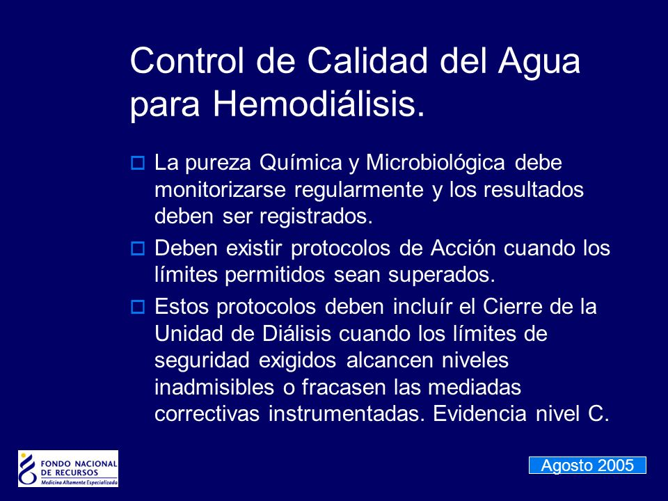 Control de Calidad del Agua para Hemodiálisis.