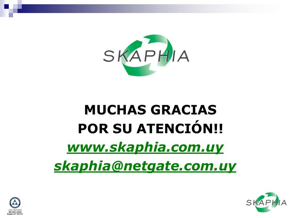 MUCHAS GRACIAS POR SU ATENCIÓN!! www.skaphia.com.uy skaphia@netgate.com.uy