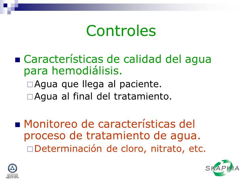Controles Características de calidad del agua para hemodiálisis.