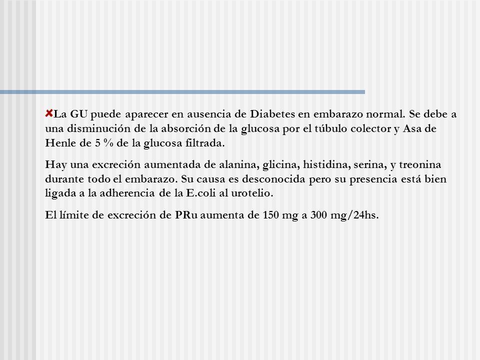 La GU puede aparecer en ausencia de Diabetes en embarazo normal