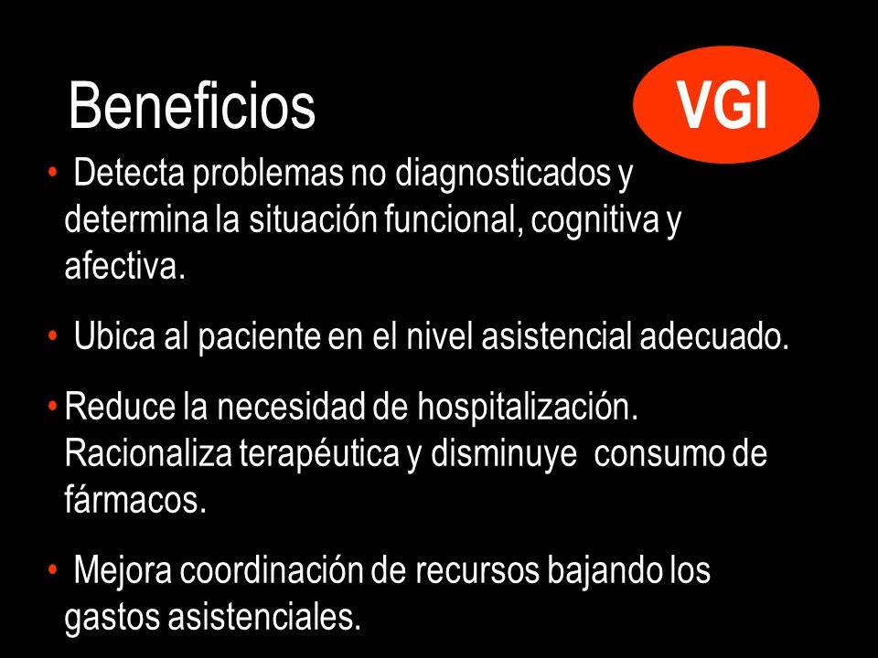 Beneficios VGI. Detecta problemas no diagnosticados y determina la situación funcional, cognitiva y afectiva.