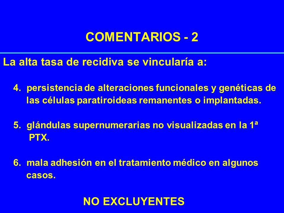 COMENTARIOS - 2 La alta tasa de recidiva se vincularía a: