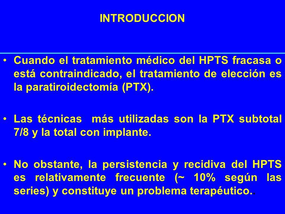 INTRODUCCION Cuando el tratamiento médico del HPTS fracasa o está contraindicado, el tratamiento de elección es la paratiroidectomía (PTX).