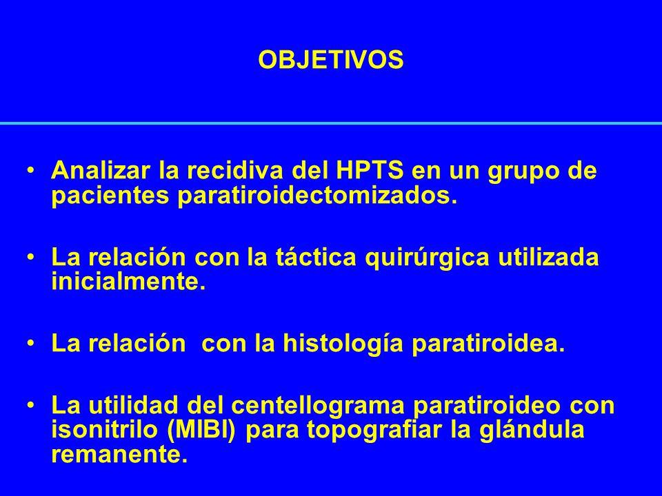 OBJETIVOSAnalizar la recidiva del HPTS en un grupo de pacientes paratiroidectomizados. La relación con la táctica quirúrgica utilizada inicialmente.