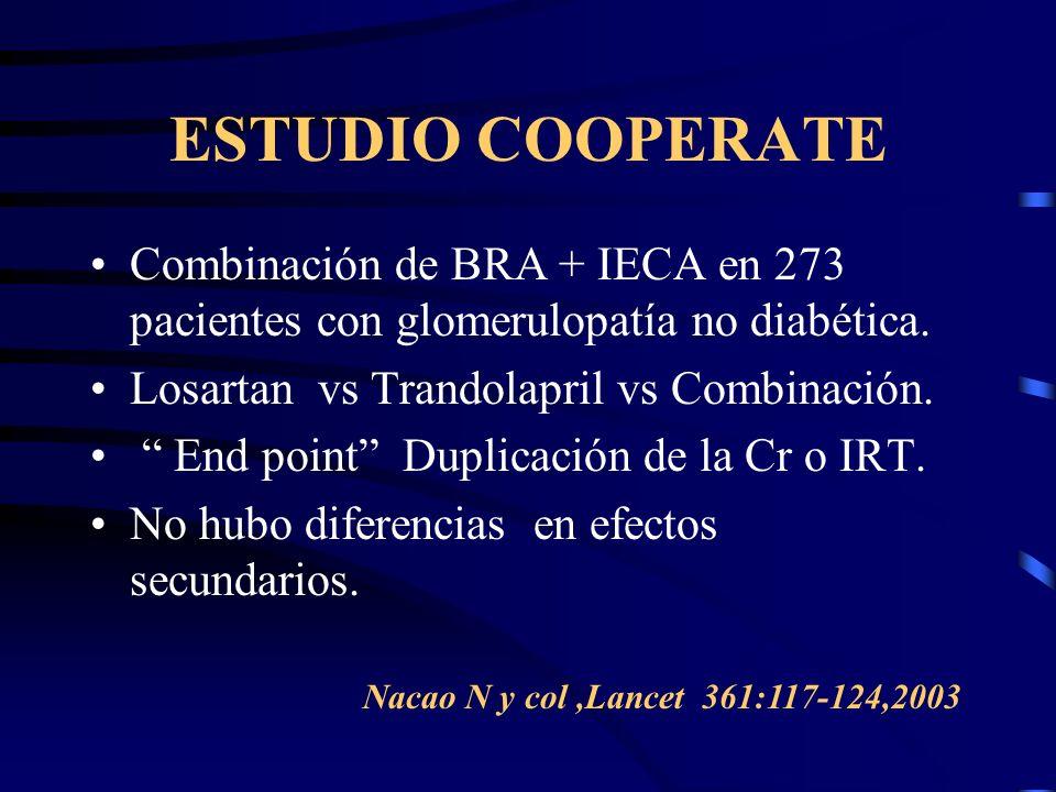ESTUDIO COOPERATE Combinación de BRA + IECA en 273 pacientes con glomerulopatía no diabética. Losartan vs Trandolapril vs Combinación.
