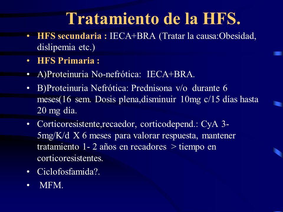 Tratamiento de la HFS.HFS secundaria : IECA+BRA (Tratar la causa:Obesidad, dislipemia etc.) HFS Primaria :