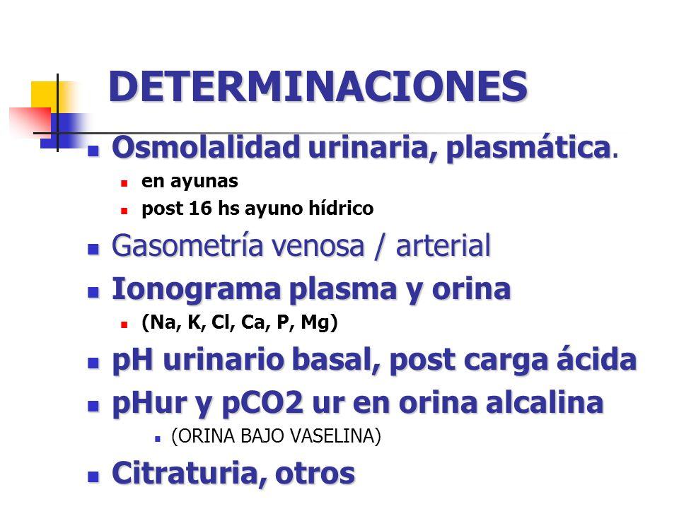 DETERMINACIONES Osmolalidad urinaria, plasmática.