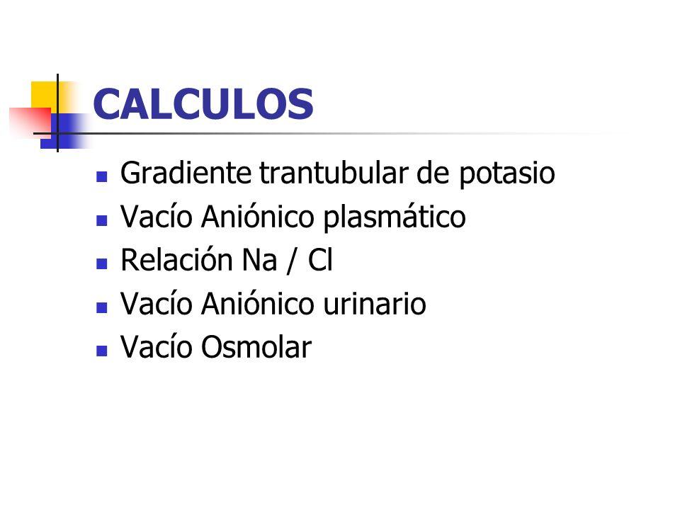 CALCULOS Gradiente trantubular de potasio Vacío Aniónico plasmático