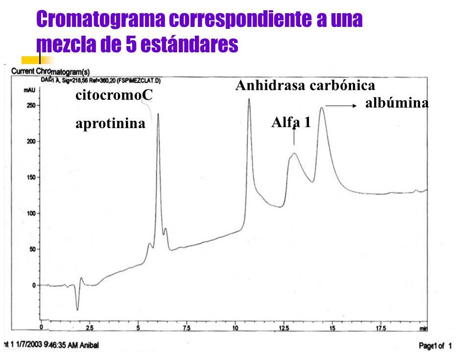 Cromatograma correspondiente a una mezcla de 5 estándares